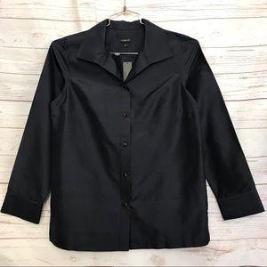TALBOTS Silt Career Top Johnny Top Navy Shirt Sz10